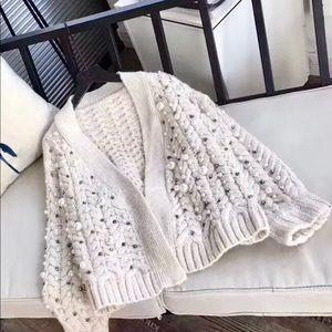 Miu Miu Pearl-embellished Cable Knit Sweater